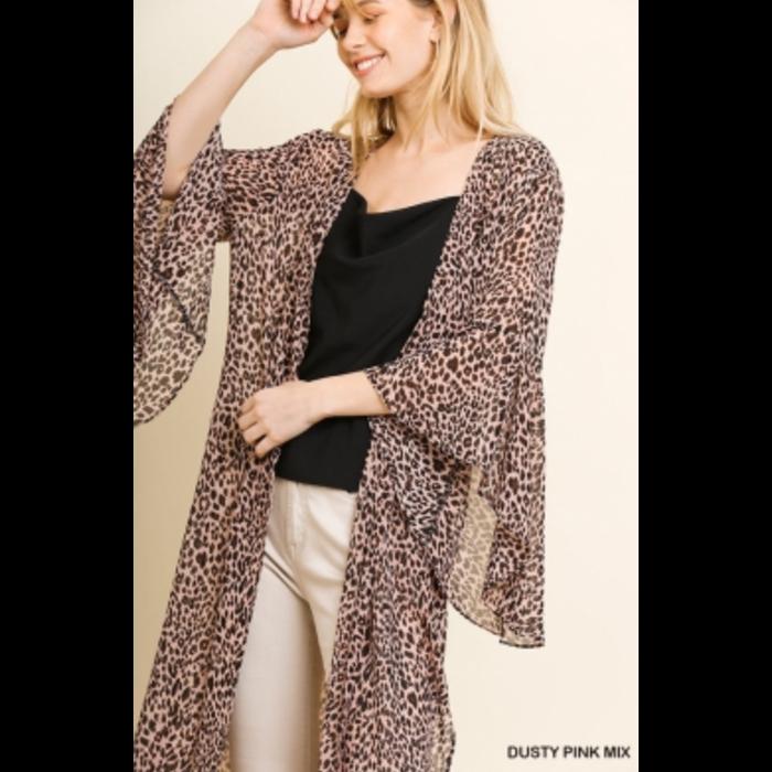 Long Leopard Ruffle Sleeve Side Slit Duster