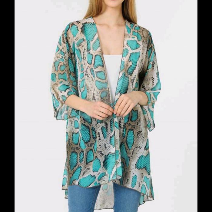 Turquoise Snake Print Kimono
