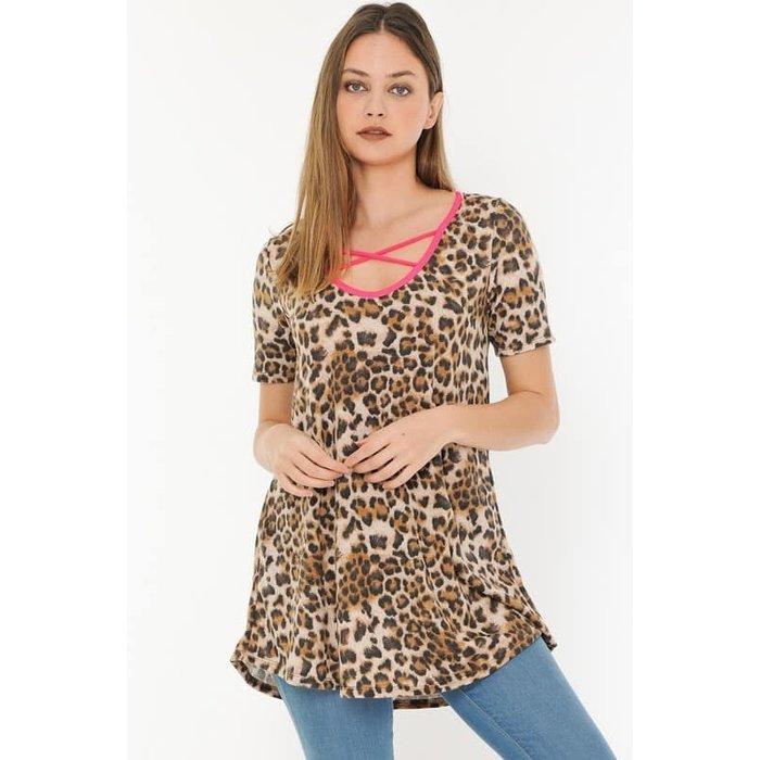 Leopard Tunic with Neon Pink Criss Cross
