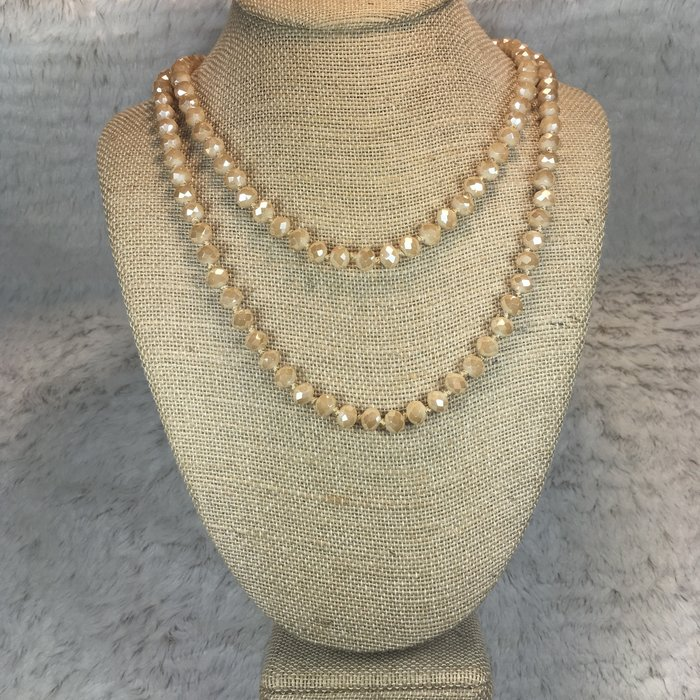 "60"" Light Brown Crystal Beaded Necklace"