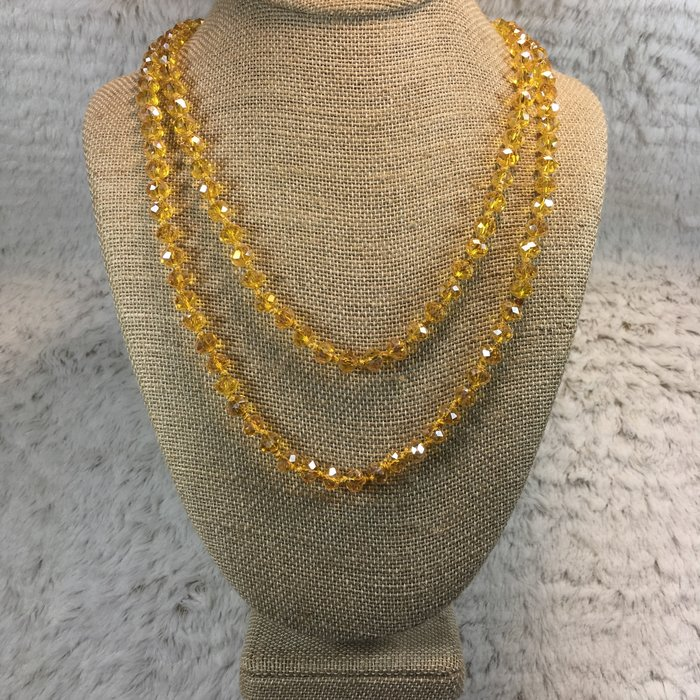 """60"""" AB Yellow Crystal Beaded Necklace"""