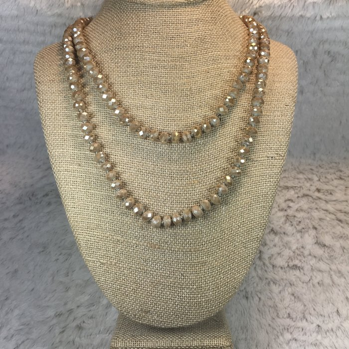 Taupe Crystal Knotted Long Necklace 60""