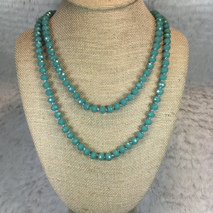 """Turquoise 60"""" Knotted Crystal Beaded Necklace"""