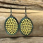 Yellow On Patina Oval Earrings