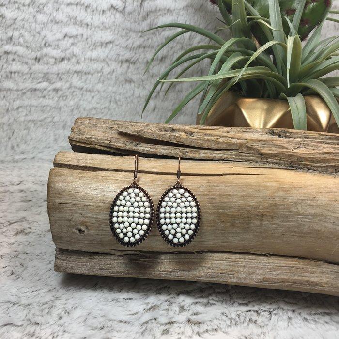 Ivory on Copper Oval Earrings