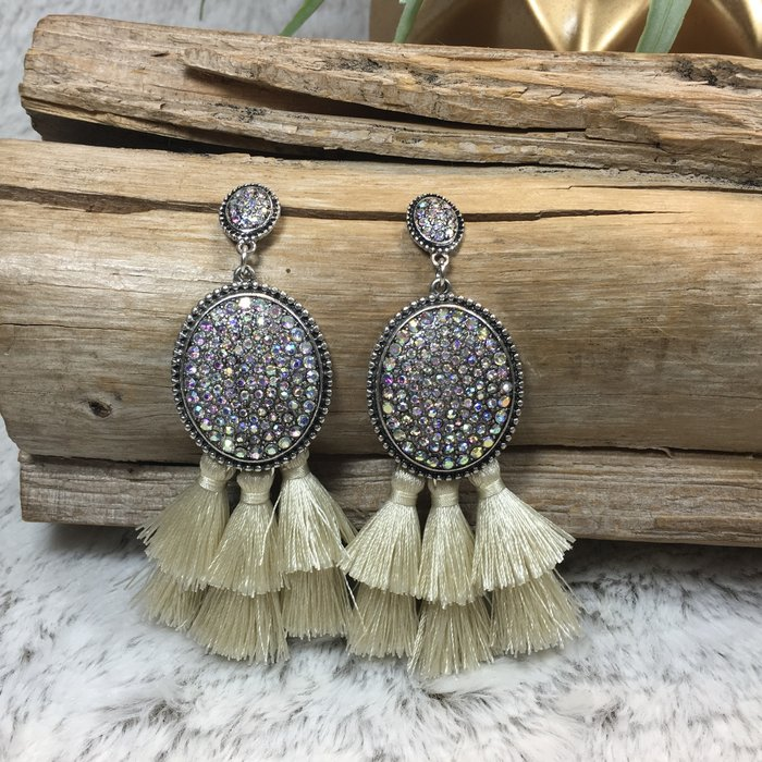 AB Oval Ivory Fringe Earrings