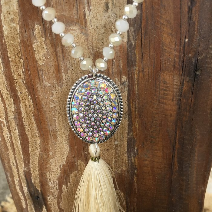 Ivory AB Oval Tassel Crystal Necklace