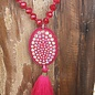 Fuschia AB Oval Crystal Necklace