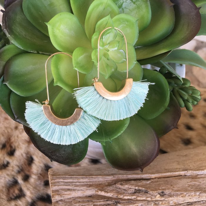 Mint Metal Tassel Earrings