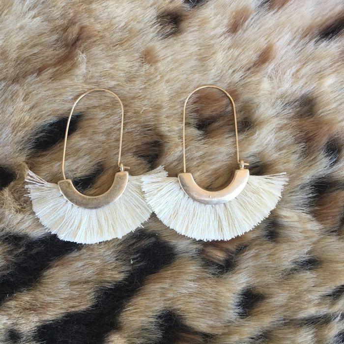 Ivory Metal Tassel Earrings