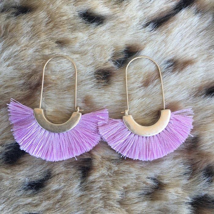 Pink Metal Tassel Earrings