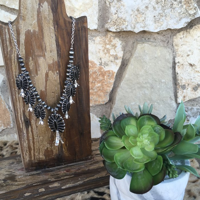 Black Silver Navajo Pearl Squash Necklace Set
