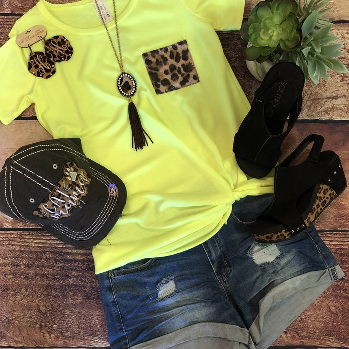 Neon Yellow Leopard Pocket Knotted Hem Top