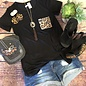 Black Leopard Pocket Knotted Hem Top
