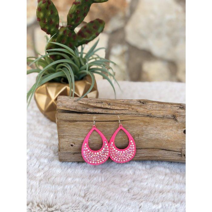 Hot Pink AB Crystal Open Teardrop Earrings
