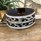 Wide Grey Leopard Clear Rhinestone Magnetic Bracelet
