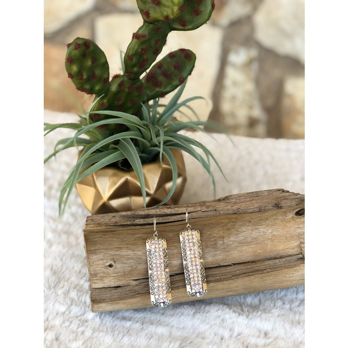 Silver Long Rectangle AB Earrings