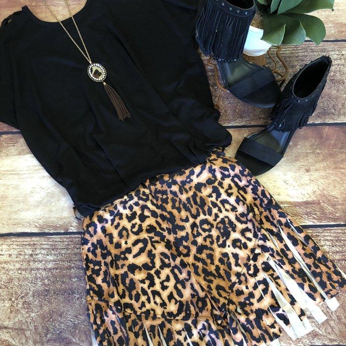 Leopard Suede Fringe Shorts