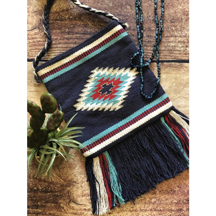 Navy & Red Aztec Beaded Cross Body Bag