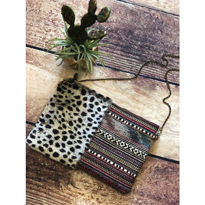 Mulch Leopard Faux Fur Clutch Bag