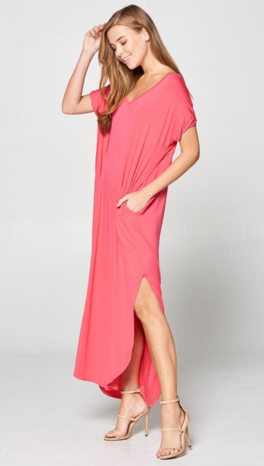 fdeb89462e2 Coral V-Neck Maxi Dress with Pockets - TheBlingBoxOnline.com