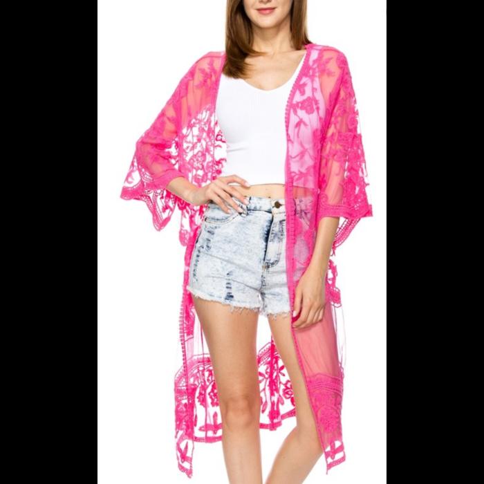 Hot Pink Lace Long Kimono