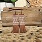 Brown Suede Long Aztec Fringe Earrings