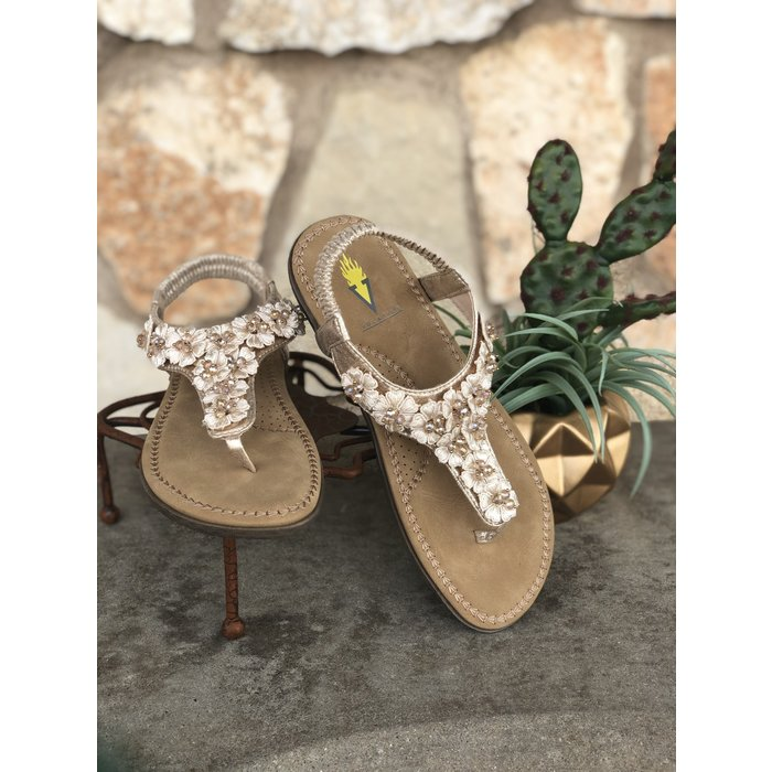 Gold Joyous Floral Embellished Sandals