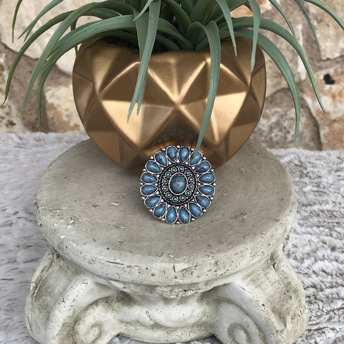 Turquoise Western Round Flower Adjustable Ring