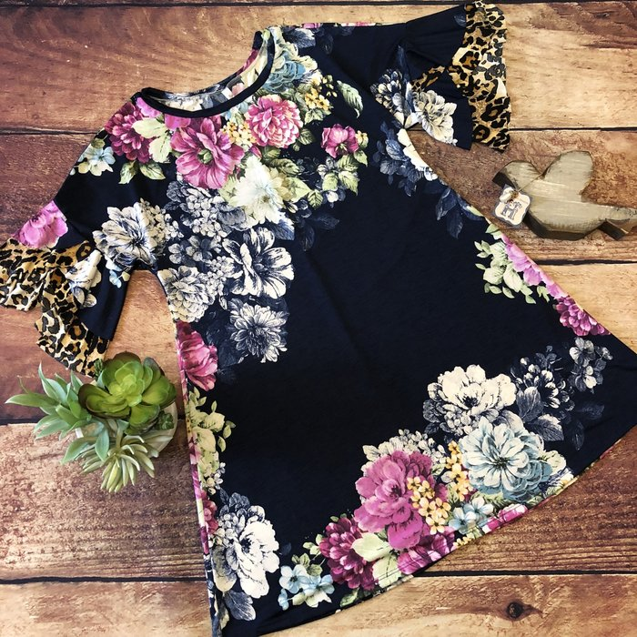 Navy Floral Dress with Leopard Ruffle Sleeves