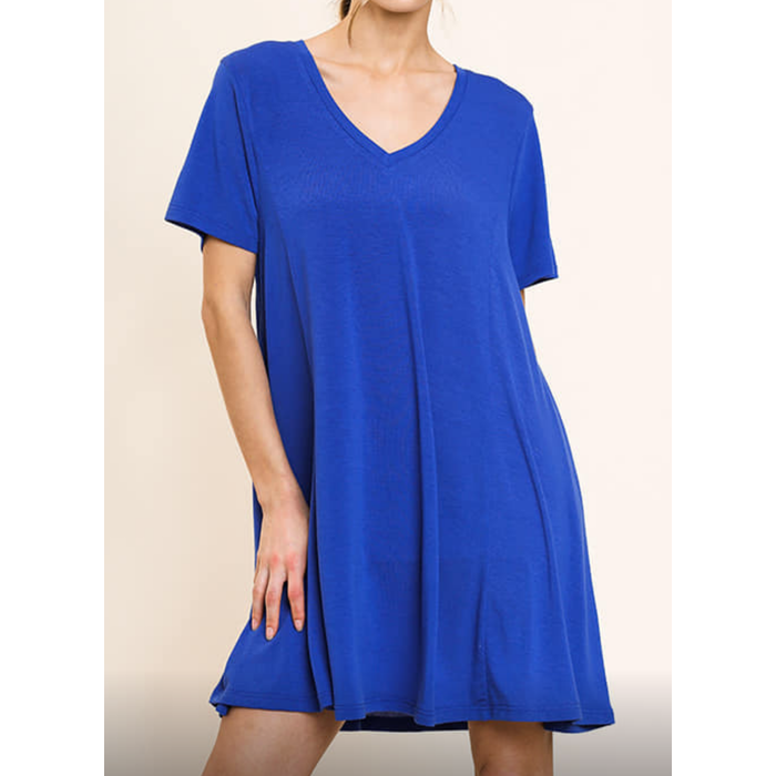 Cobalt Blue V-Neck Short Sleeve Shift Dress