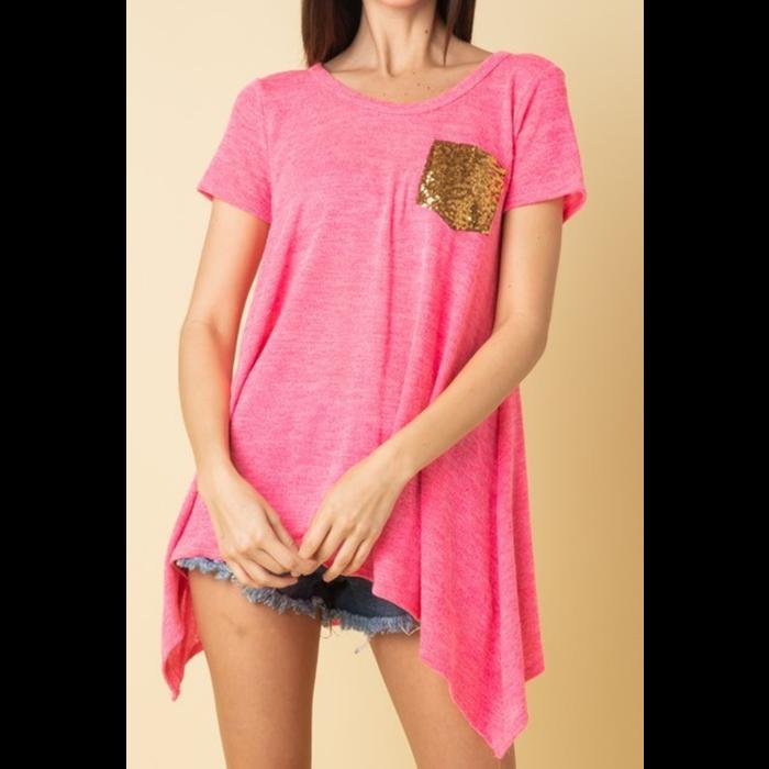 Hot Pink Short Sleeve Glitter Pocket Tunic