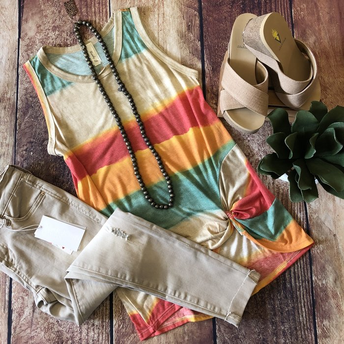 Watercolor Serape Knotted Tank