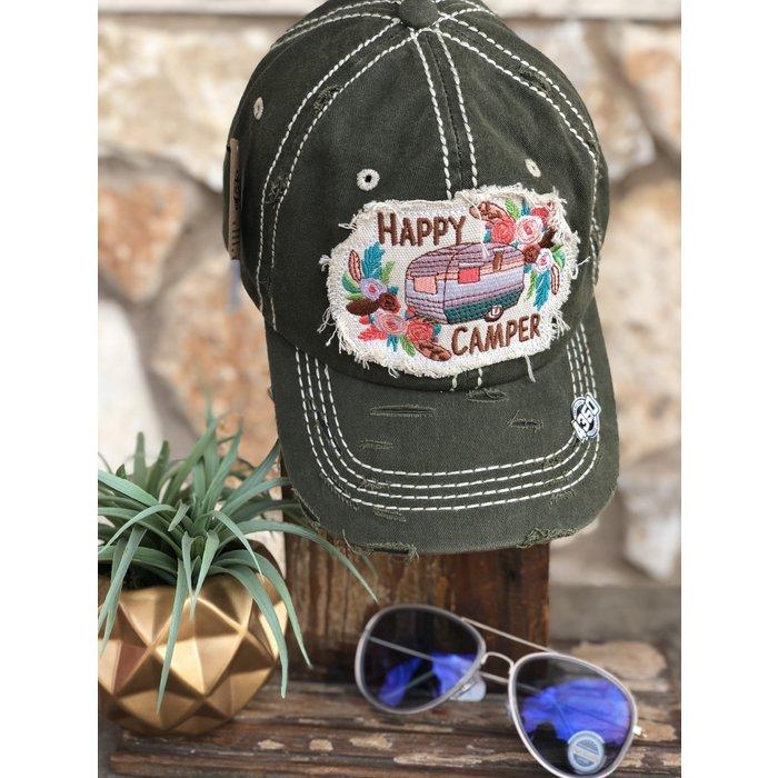 Olive Happy Camper Hat