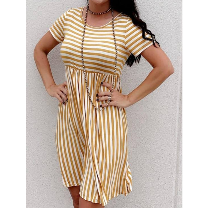 Mustard Striped Short Sleeve Shift Dress