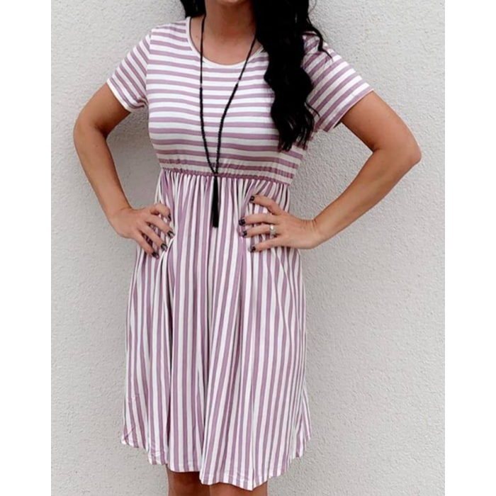 Lavender Striped Short Sleeve Shift Dress