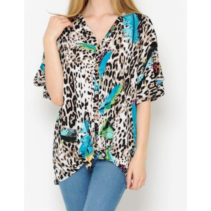 Feather Print Leopard Front Tie Top