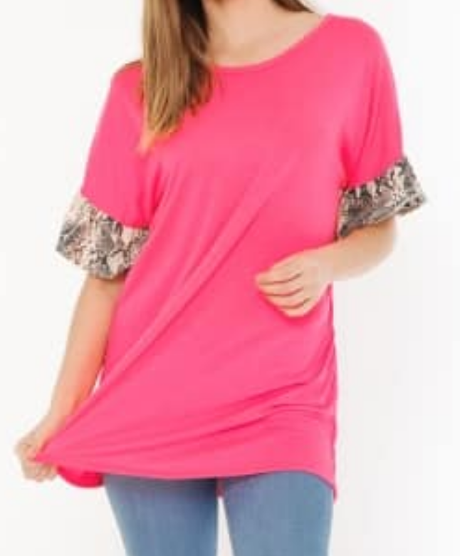 1e0297d8b6c Neon Pink Snake Skin Ruffle Sleeve Tunic - TheBlingBoxOnline.com