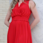 Red Ruffle V-Neck Dress