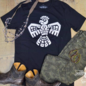 Black Mayan Thunderbird Crew Neck Graphic Tee