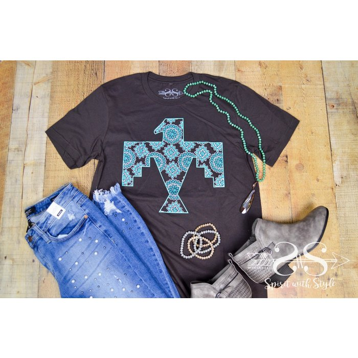 Chocolate Turquoise Concho Thunderbird Graphic Tee
