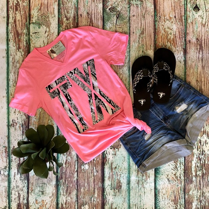 Neon Pink TX Snake Skin V-Neck Graphic Tee