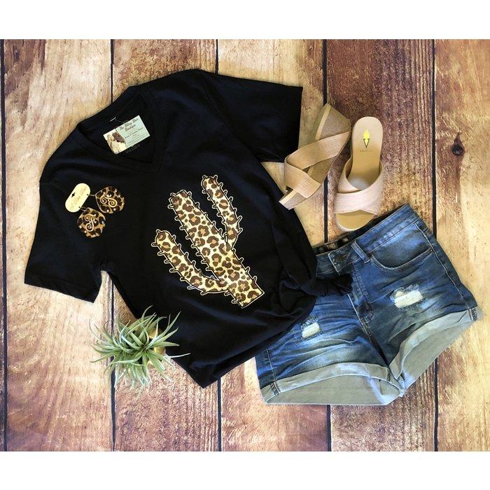Black Leopard Cactus V-Neck Graphic Tee