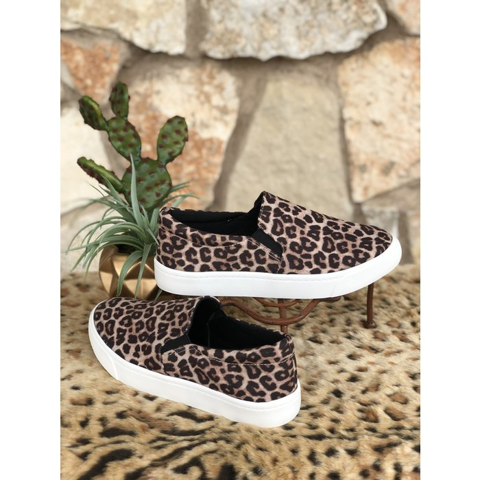 Oatmeal & Cheetah Slip On Tennis Shoe