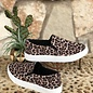 Oatmeal & Cheetah Slip On Tennis Shoe