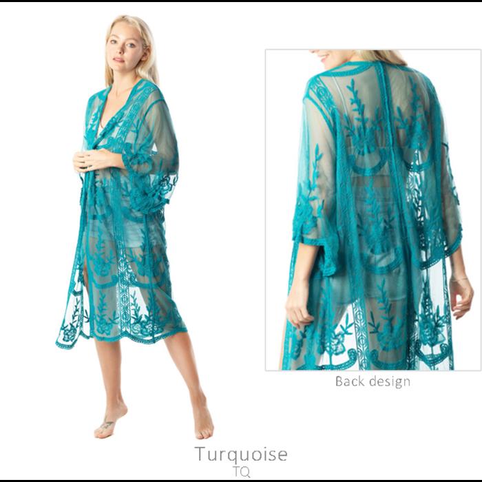 Turquoise Lace Long Kimono - ONE SIZE