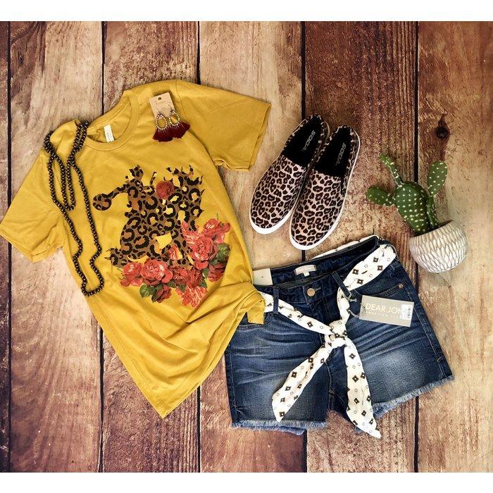 Leopard Bucking Horse on Mustard T-Shirt