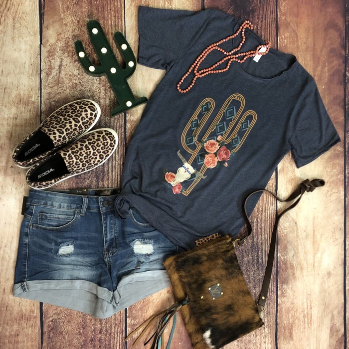 Cactus Rose on Denim Color T-Shirt