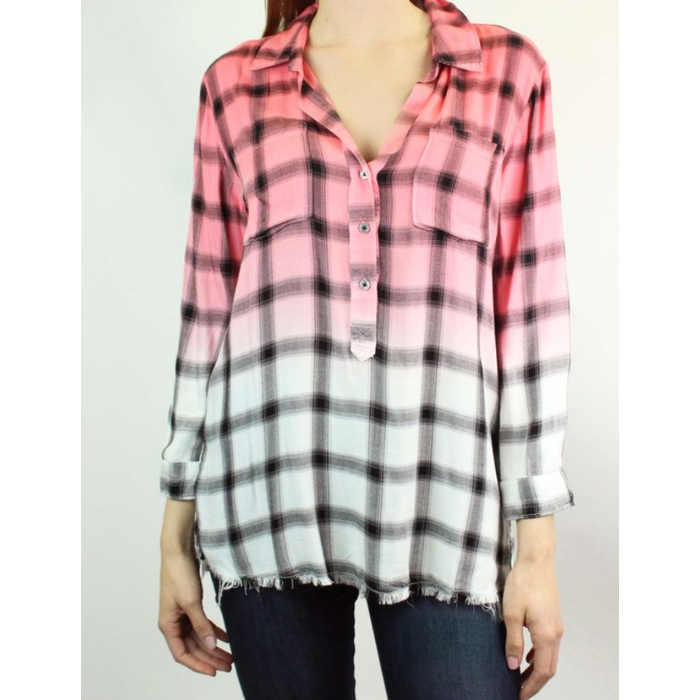 Bright Coral Emily Dipped Plaid Button Down Top