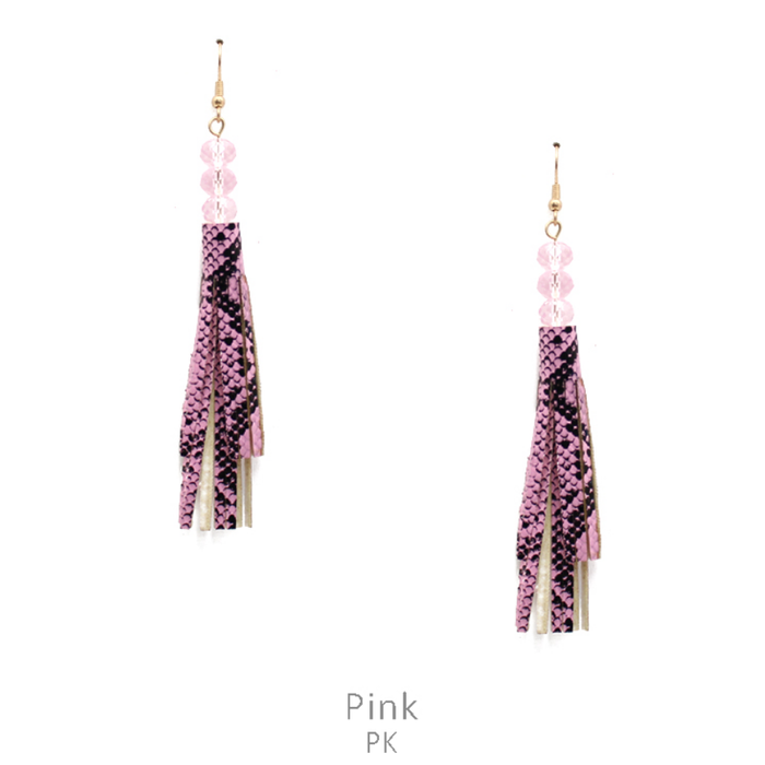 Pink Snakeskin Tassel Earrings